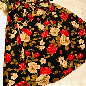 JONES NY Black Tan Pink Rose Floral Silk Skirt 14